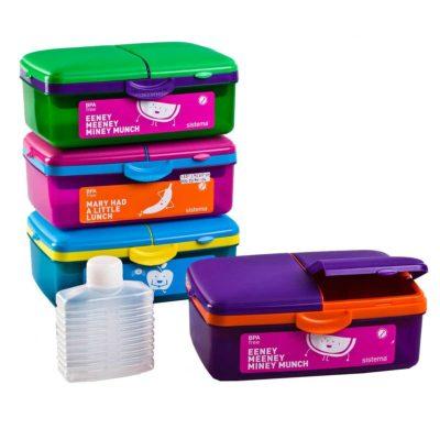 קופסת אוכל מחולקת עם בקבוק שתיה 1.5 ליטר Sistema